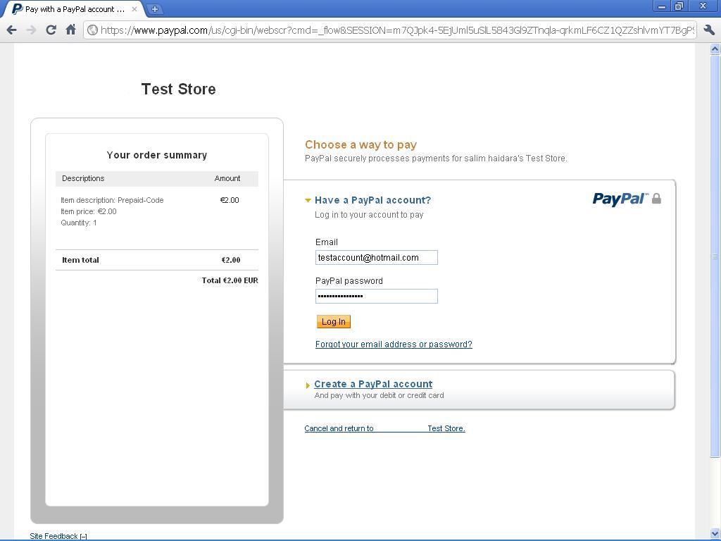 Anmeldung Paypal